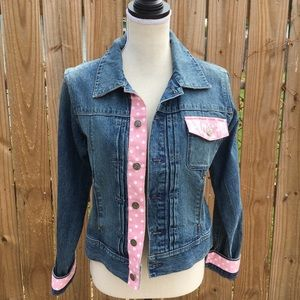 Tie One on NY • Pink Ribbon Trimmed Denim Jacket